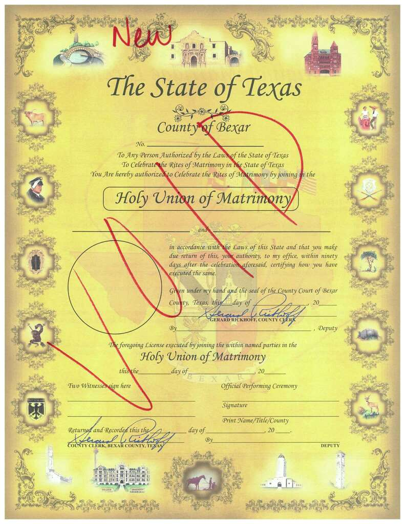 Bexar county clerk a republican to accommodate gay couples if pictured a revised marriage license to be issued by the bexar county clerks office 1betcityfo Image collections