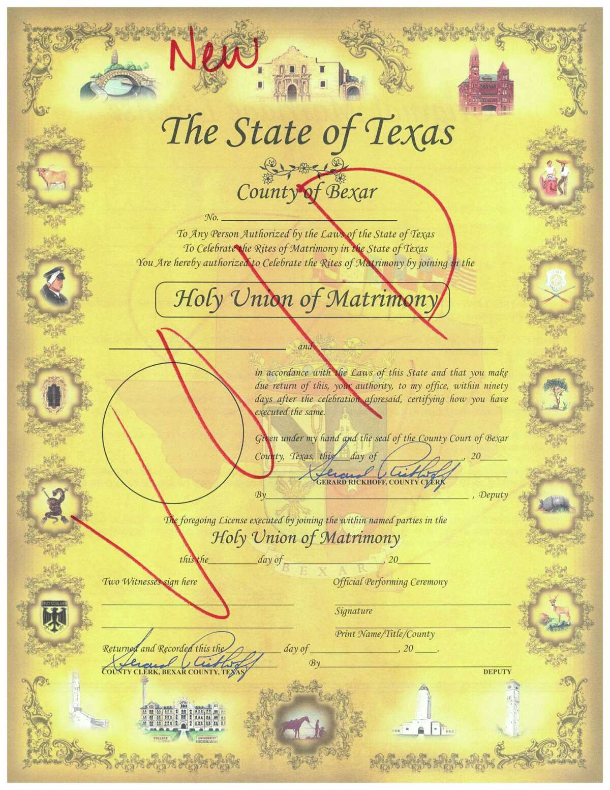 Pictured, a revised marriage license to be issued by the Bexar County Clerk's Office. The new license removes gender references in anticipation of a ruling from the U.S. Supreme Court legalizing same-sex marriage in all 50 states.