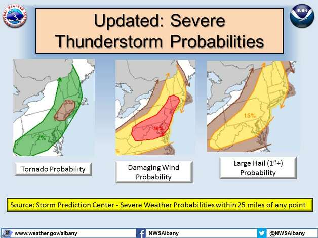The National Weather Service in Albany released this map Tuesday show the possible path of thunderstorms that are expected to move through the region during the day. (National Weather Service)