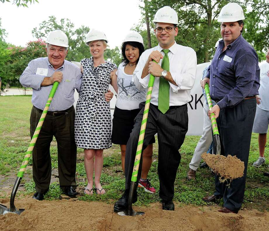 Bellaire City Councilman Jim Avioli, left, state Rep. Sarah Davis, R-Houston, Evelyn's Park Conservancy President Patricia Ritter and Bellaire council members Andrew Friedberg and Roman Reed break ground June 18 for Evelyn's Park in Bellaire. The city and conservancy are ironing at details on what each should pay during the first phase of construction. Photo: Dave Rossman, Freelance / Freelalnce