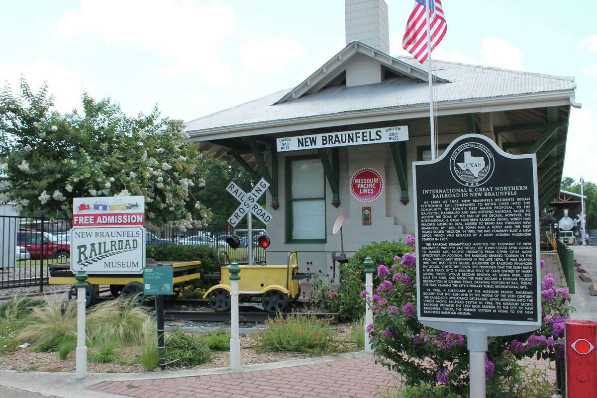 The New Braunfels Railroad Museum (left) displays artifacts and photographs from the golden age of railroading. Admission is free.