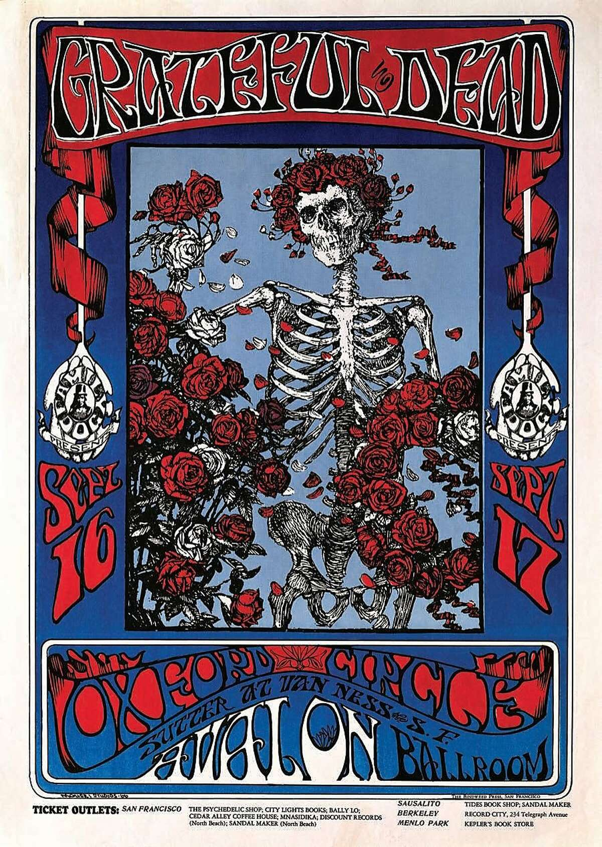 Avalon Ballroom Skeleton and Roses, 1966. This drawing by Stanley Mouse became one of the most iconic nimages in rock music history.