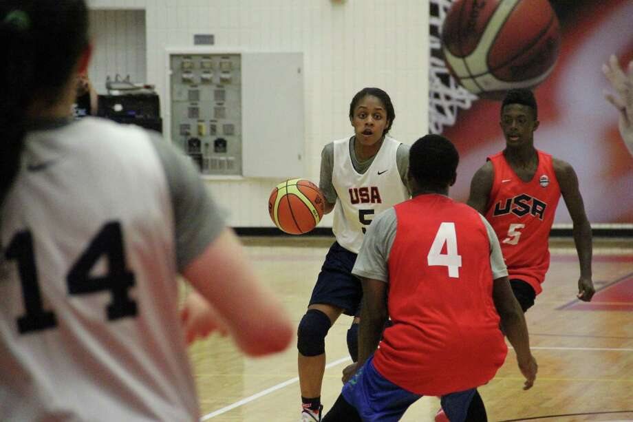 Desiree Caldwell, a Johnson High School star, dribbles up court during practice with the U.S. girls under-16 national team against a boys summer-league team on June 18, 2015, at the United States Olympic Training Center in Colorado Springs, Colo. Photo: Courtesy Photo /USA Basketball