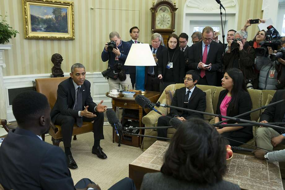 "President Obama meets in February with ""Dreamers,"" young people brought illegally to the U.S. as children. Photo: Evan Vucci, Associated Press"