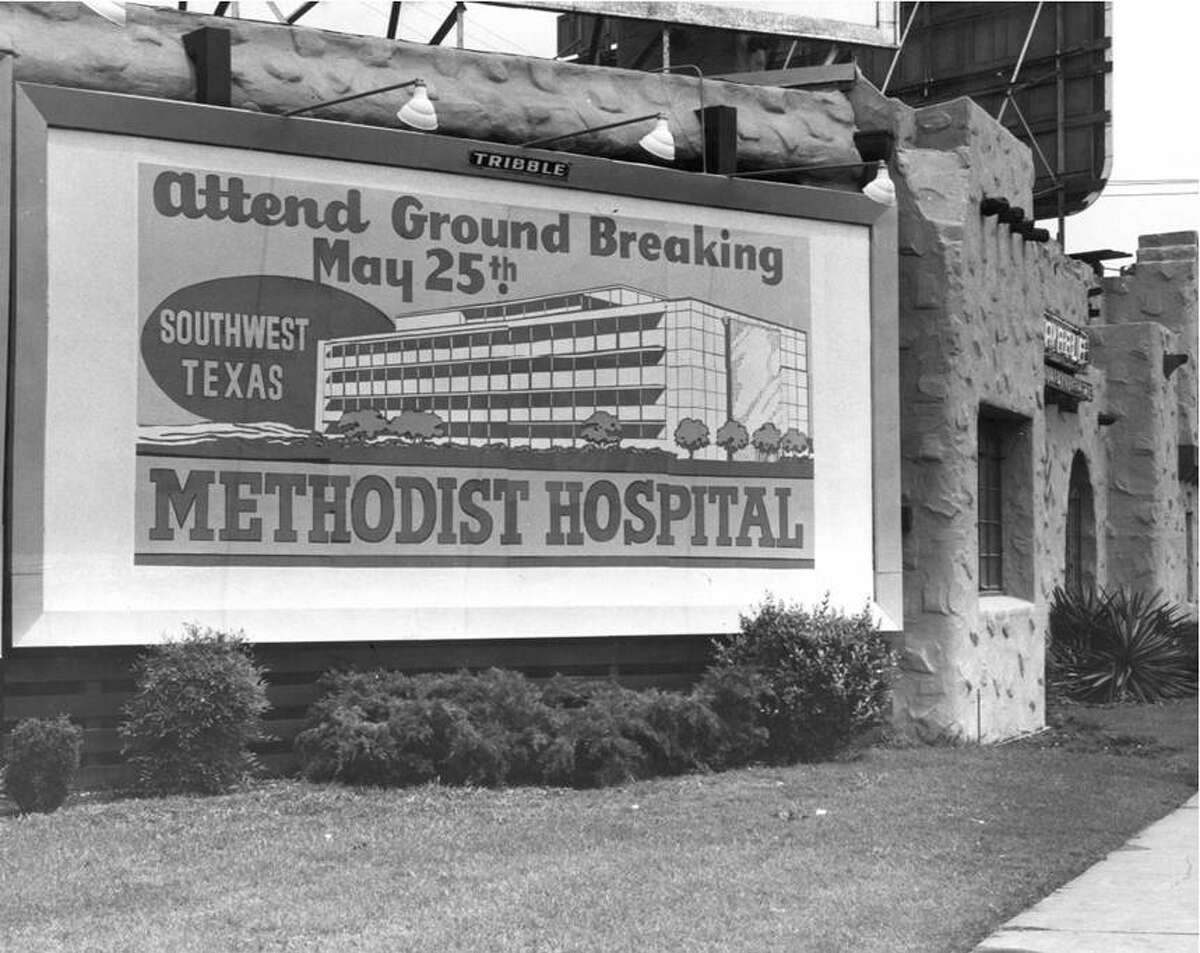 A billboard publicized the May 25, 1960, groundbreaking for Southwest Texas Methodist Hospital, the first institution to be built in the South Texas Medical Center. The hospital is known today as Methodist Hospital.
