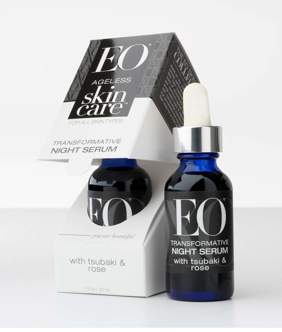 EO Products Ageless Skin Care Transformative Night Serum with Tsubaki and Rose. Available at www.eoproducts.com.