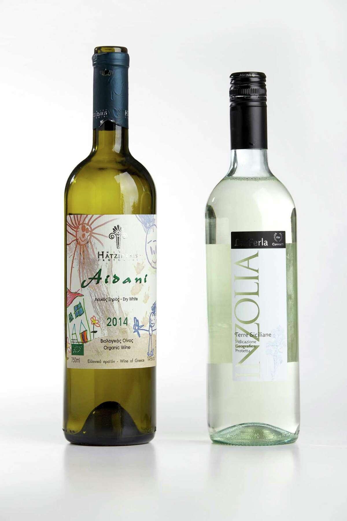 This week's recommendations include crisp white wines. Hatzidakis Aidani 2014, (left) from Cyclades, Greece; and La Ferla Inzolia 2014, from Sicily.