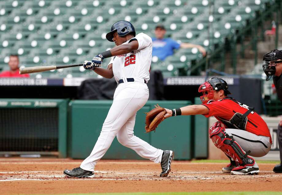 Concordia Lutheran alumnus Ke'Bryan Hayes made his mark nationally with the 2014 USA 18U National Team during the USA-Canada National Teams game at Minute Maid Park. Photo: Karen Warren, Staff / © 2014 Houston Chronicle