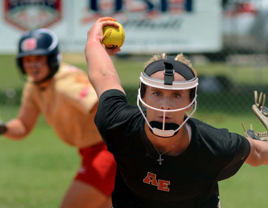 Aces Express Gold and Pearland High School senior pitcher Alyssa Denham works to a Blaze Gold hitter during their Summer Nationals warm-up game at Imperial Park in Sugar Land last weekend. Photo: Jerry Baker, Freelance