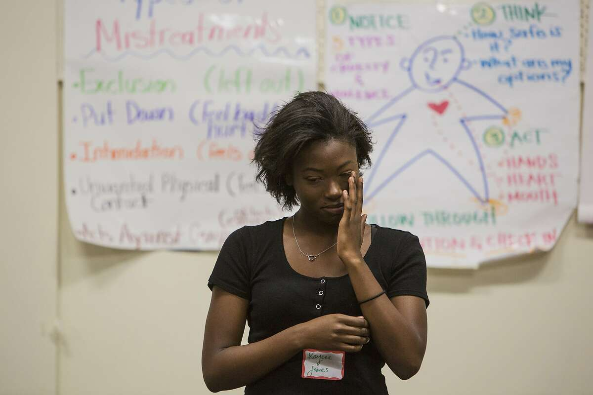 Kaycee James, 17, a junior at Pasadena High School, performs in an anti-bullying skit during a training for the Safe School Ambassadors program that is run by Community Matters, a Bay Area non-profit, to stop bullying. James says she has been bullied on-line, herself.