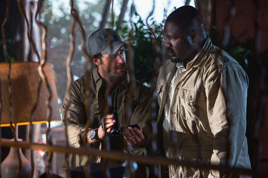James Wolk (left) is zoologist Jackson Oz, who leads ours in Botswana, and Nonso Anozie is his friend Abraham Kenyatta. Photo: Hilary Bronwyn Gayle/CBS, CBS