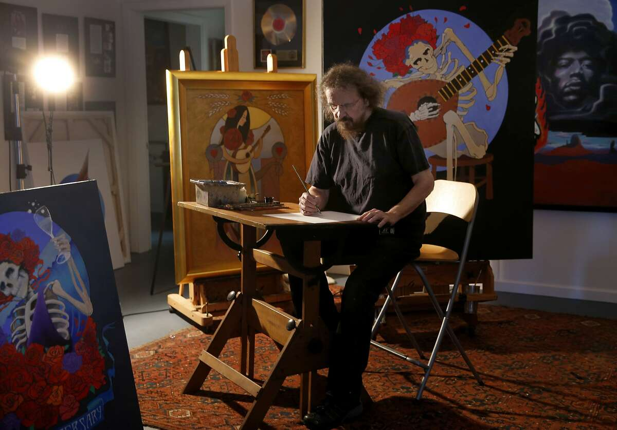 """Stanley """"Mouse"""" Miller begins a new project at his Sebastopol, Calif. studio Tuesday June 23, 2015. Artist Stanley """"Mouse"""" Miller is one of the most famous poster artists of the San Francisco rock era. He is out with a new art book and a 50th anniversary gallery show."""