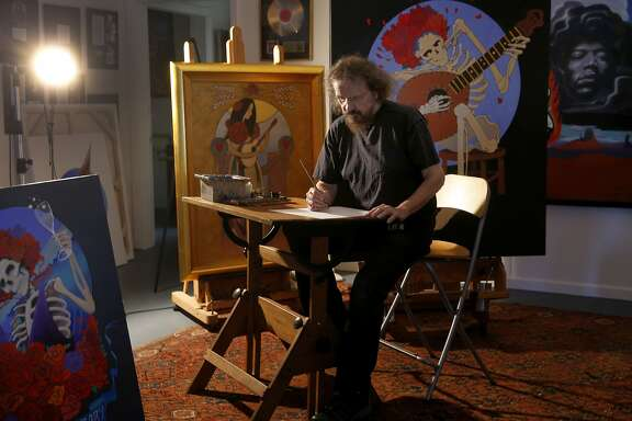 "Stanley ""Mouse"" Miller begins a new project at his Sebastopol, Calif. studio Tuesday June 23, 2015. Artist Stanley ""Mouse"" Miller is one of the most famous poster artists of the San Francisco rock era. He is out with a new art book and a 50th anniversary gallery show."