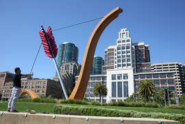 """Cupid's Span"" on the Embarcadero is near the Gap headquarters (right), a block from the planned tower."