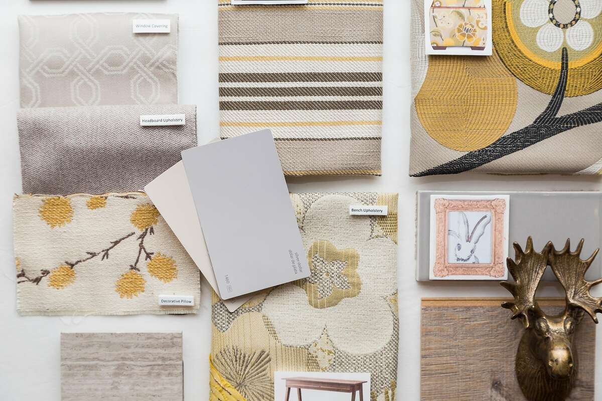 A mood-board for Florence Wu, who designed the new Ronald McDonald House, at the Robert Allen showroom at the SF Design Center in San Francisco, Calif., Tuesday, June 23, 2015.