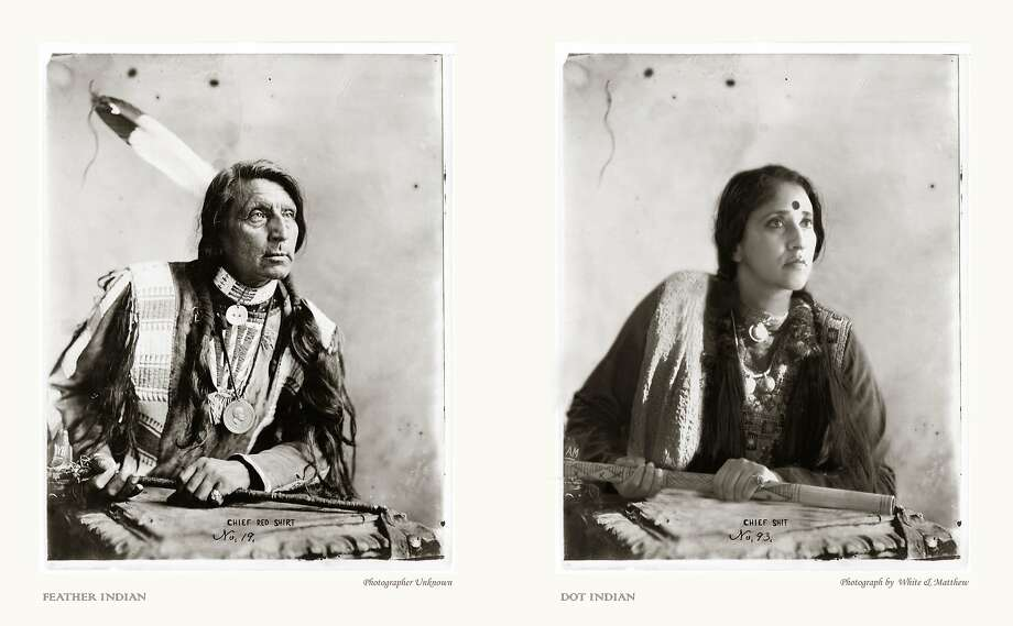 "Annu Palakunnathu Matthew's ""Feather/Dot"" looks at the confusion of stereotypes about different kinds of Indians. Photo:  Annu Palakunnathu Matthew, Sepia EYE, New York"