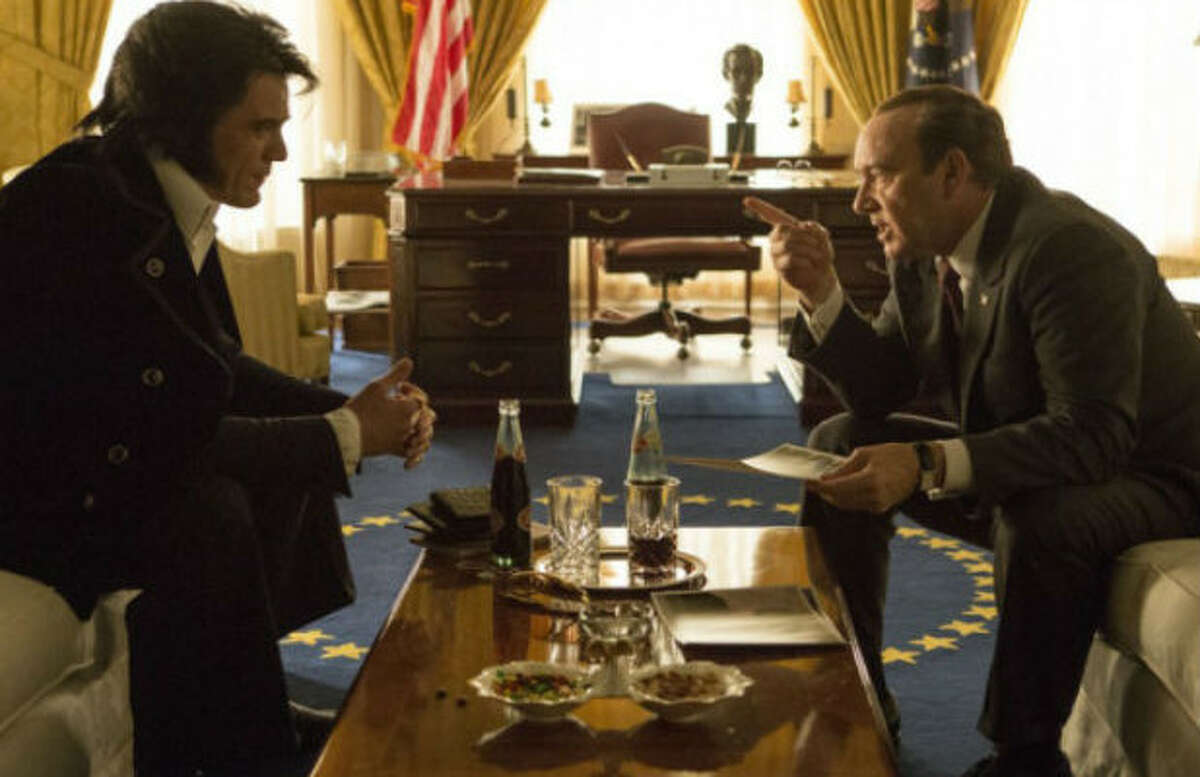 Elvis & Nixon opening April 22. The untold true story behind the meeting between the King of Rock 'n Roll and President Nixon, resulting in this revealing, yet humorous moment immortalized in the most requested photograph in the National Archives. Starring Michael Shannon, Kevin Spacey, Alex Pettyfer, Johnny Knoxville.