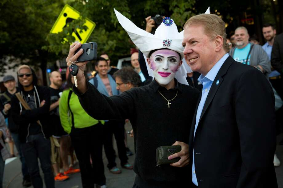 "As part of efforts to make Seattle a safe city for the LGBT community Mayor Ed Murray and the Seattle Police Dept. have created a ""Safe Places"" program, where anybody enduring harassment, intimidation or physical assault can seek refuge while police are summoned.  The city's 98 public schools were included in the program on Wednesday. (Jordan Stead, seattlepi.com) Photo: JORDAN STEAD, SEATTLEPI.COM"