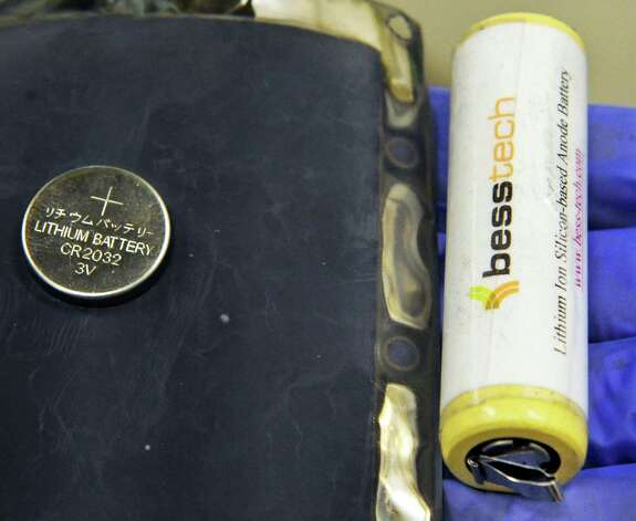 Lithium ion batteries and a silicon anode sheet, a component in the manufacturing of besstech batteries in a SUNY Poly campus lab at CNSE Tuesday June 23, 2015 in Albany, NY.  (John Carl D'Annibale / Times Union) Photo: John Carl D'Annibale / 00032365A