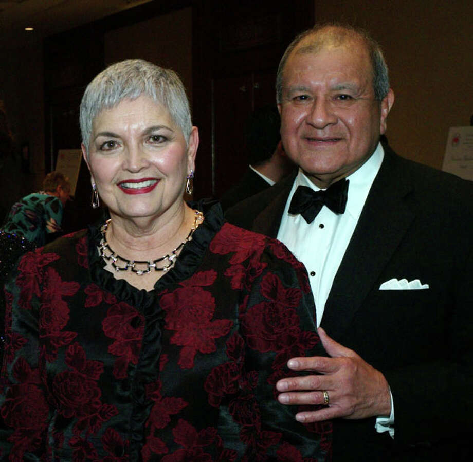 Veronica Salazar Escobedo and her husband, Ruben Escobedo, are seen at the 2012 Noche de Amistad gala. The couple recently donated $1 million to Our Lady of the Lake University for a revamped media center to be named in her honor. Photo: Leland A. Outz /For The Express-News / SAN ANTONIO EXPRESS-NEWS