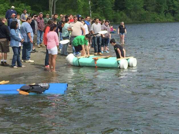 Eighteen boats powered by student muscle competed in the Ravena-Coeymans-Selkirk's annual Recyclable Boat Regatta at Lawson Lake on June 6. Participants were design and drawing for production students taught by Scott Peck and Shelly Bevan. The windy weather provided a more difficult race this year, creating a current the students had to overcome; a few couldn't finish. The winning team was John Manning, Victor Faccio, Noah Galusha and Matthew Moore. (Karen Limberger)