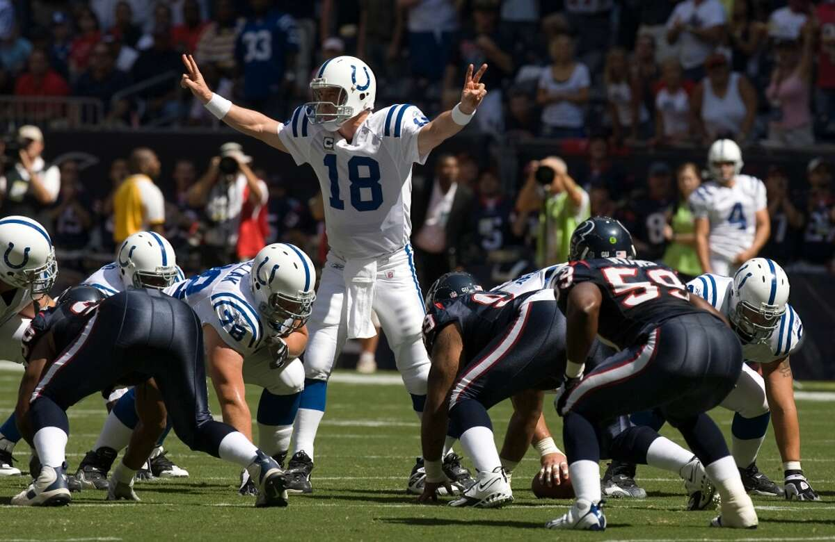 Colts over Texans, 31-27 (2008) Rosencopter game. Quarterback Peyton Manning completed 25-of-34 for 247 yards and 2 TDs (1 INT) and hooked up with Reggie Wayne on the game-winning score in the final two minutes.