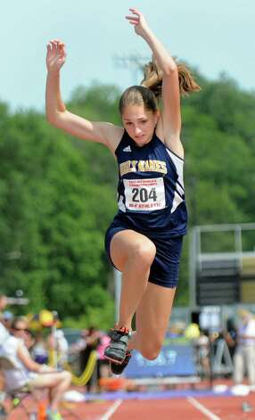 Holy Names Leah Moran competes in the triple jump during the state track meet on Friday, June 12, 2015, at UAlbany in Albany, N.Y. Moran took first with 40 feet. (Cindy Schultz / Times Union) Photo: Cindy Schultz / 10032255A
