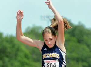 Holy Names Leah Moran competes in the triple jump during the state track meet on Friday, June 12, 2015, at UAlbany in Albany, N.Y. Moran took first with 40 feet. (Cindy Schultz / Times Union)