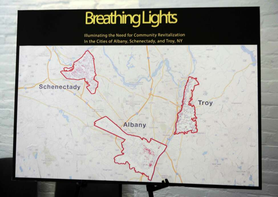 Map showing participating cities during a press event at the RPI Lighting Research Center announcing the project