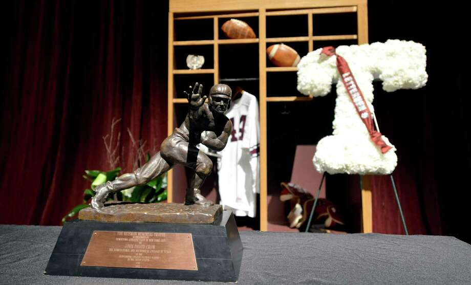 John David Crow's Heisman Trophy was among the memorabilia displayed Tuesday. Photo: Sam Craft, MBR / The Bryan-College Station Eagle