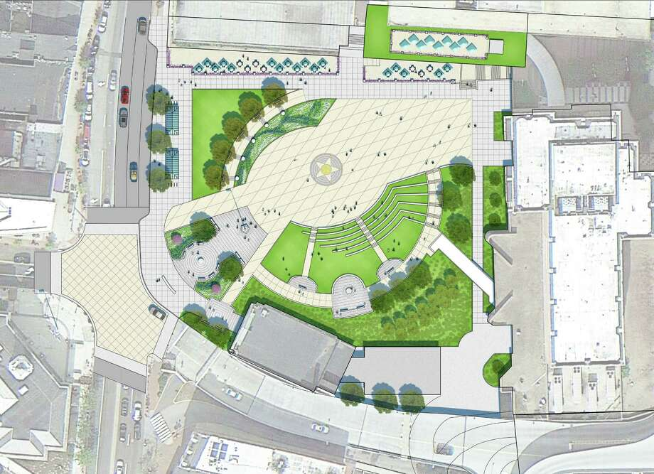 Renderings show the plan for a renovation of Veterans Park at Main and Atlantic streets in downtown Stamford. Photo: Courtesy BETA Engineering