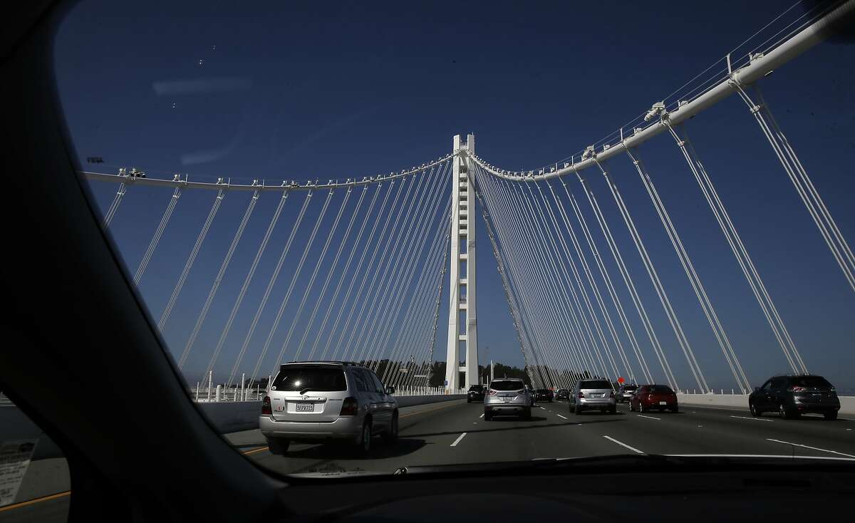 West bound direction across the eastern section of the San Francisco Oakland Bay Bridge, as seen on Tues. June 23, 2015, in San Francisco, Calif.