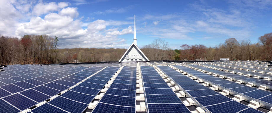 A 132-kilowatt solar energy array has been installed on the roof of Black Rock Congregational Church. Photo: Contributed Photo / Contributed Photo / Fairfield Citizen