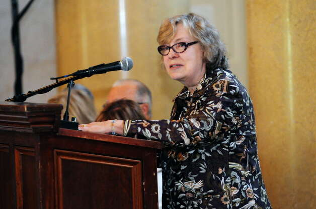 Susan Phillips Read, chairman of the Saratoga Performing Arts Center board, addresses those gathered for SPAC's annual meeting of voting members at the Hall of Springs at SPAC on Wednesday, May 21, 2014, in Saratoga Springs, N.Y. (Paul Buckowski / Times Union)