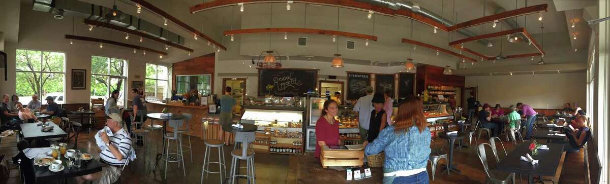 Panoramic shot of Revival Market in the Heights.