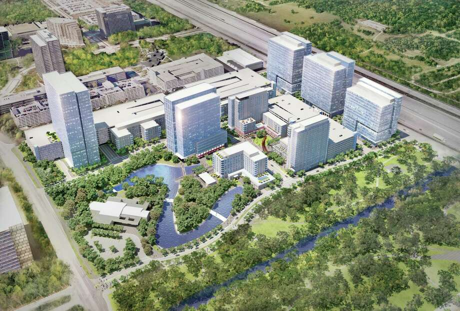 An aerial rendering of Republic Square, a development consisting of office, hotel and residential buildings with street-level restaurants and retailers. It will border Terry Hershey Park.An aerial rendering of Republic Square, a development consisting of office, hotel and residential buildings with street-level restaurants and retailers. It will border Terry Hershey Park. Photo: Courtesy