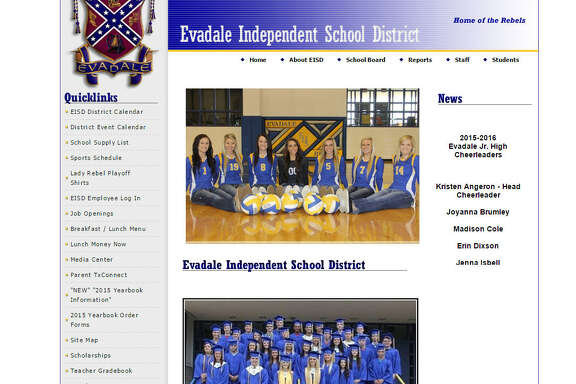 Amidst national debate over the place of the Confederate flag gin public life, Evadale ISD in East Texas is in the spotlight for its emblem.   Screenshot from Evadale ISD website
