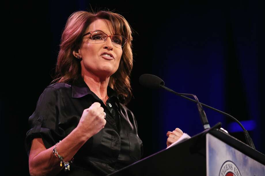 Former Alaska Governor Sarah Palin speaks to guests at the Iowa Freedom Summit on January 24, 2015 in Des Moines, Iowa. The summit is hosting a group of potential 2016 Republican presidential candidates to discuss core conservative principles ahead of the January 2016 Iowa Caucuses.  Photo: Scott Olson, Getty Images