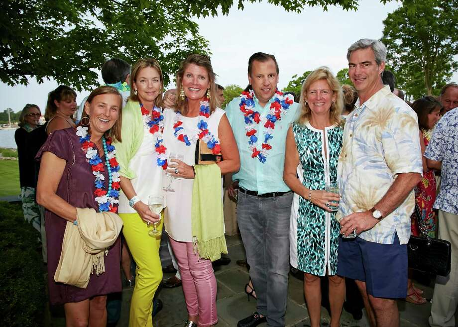 "Guests at Family Center's ""South Pacific"" benefit in Greenwich on May 29, 2015 included, from left, Sarah Lyden, Amy Fraser and Darien residents Lois Willis, Greg Willis, Anne Walker and George Walker. Photo: Contributed/Elaine Ubina / Contributed Photo / Darien News"