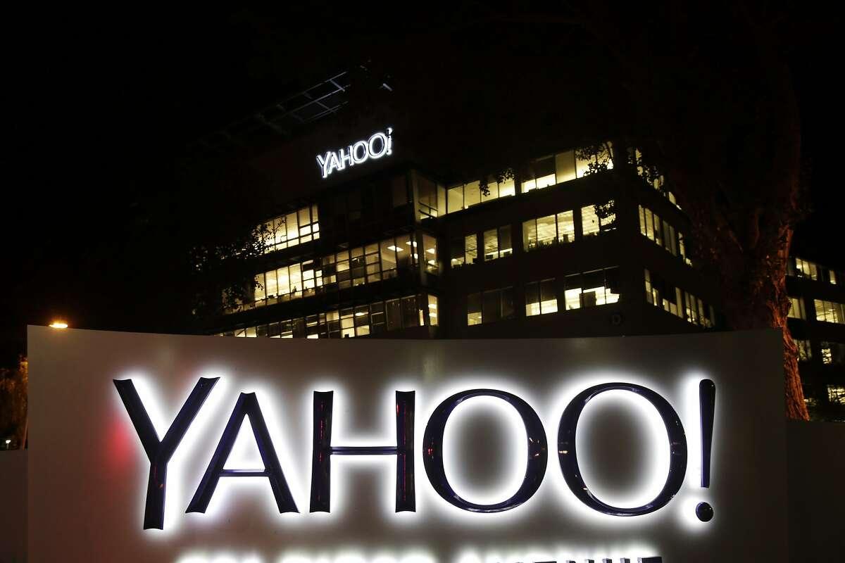 Exterior view of Yahoo headquarters on Wednesday, Nov. 5, 2014, in Sunnyvale, Calif. (AP Photo/Marcio Jose Sanchez)