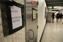 The restrooms the Powell St. BART station, in San Francisco, Calif., remain closed to the public as seen on Wed. June 24, 2015. Public restrooms in underground BART stations throughout the Bay Area  system have been closed since Sept. 11, 2001 due to security concerns. The restrooms could reopen if some directors have their way, as the transit system is looking at ways it could create safe, and maybe even sanitary, restrooms.