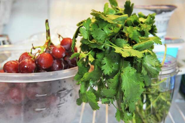 Fresh cherries and cilantro in Time Warner Cable News anchor Kate Welshofer's refrigerator Thursday June 18, 2015 in Albany, NY.   (John Carl D'Annibale / Times Union) Photo: John Carl D'Annibale / 00032319A