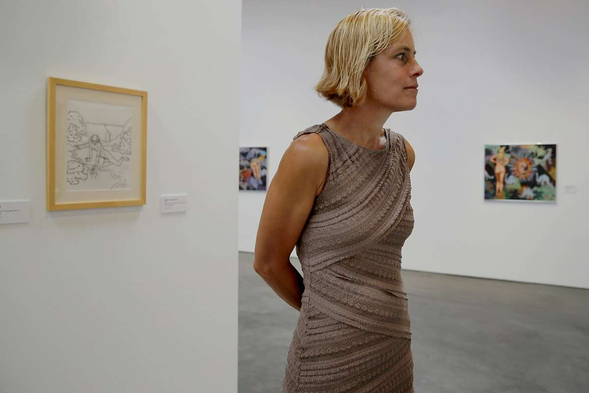 Diane Evans stands in an aisle of her modern art gallery Wednesday June 24, 2015. Diane Evans, the executive director of the new Art Museum of Sonoma County in Santa Rosa, Calif. Currently the museum has a show by noted artist Robt. Williams.
