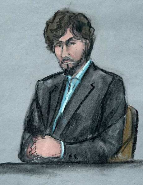 Tsarnaev, as depicted in a courtroom sketch, sits as survivors and victim's family members address him. Photo: Jane Flavell Collins /Associated Press / Jane Flavell Collins