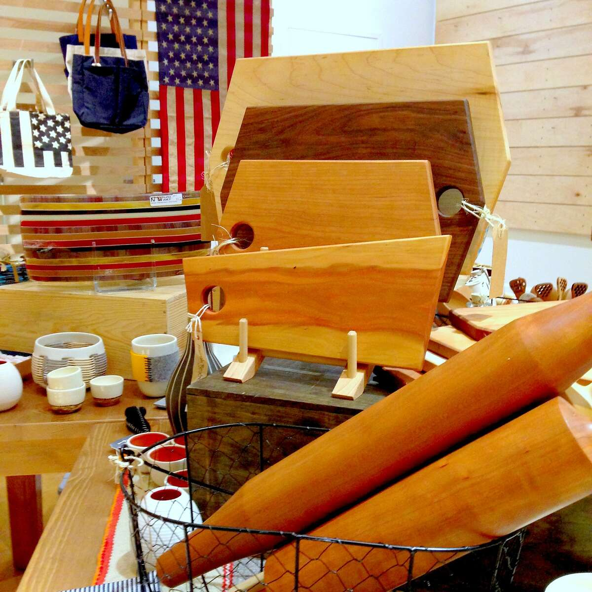 Wooden kitchen accessories at Makers Market at the Westfield San Francisco Centre. makersmarket.us