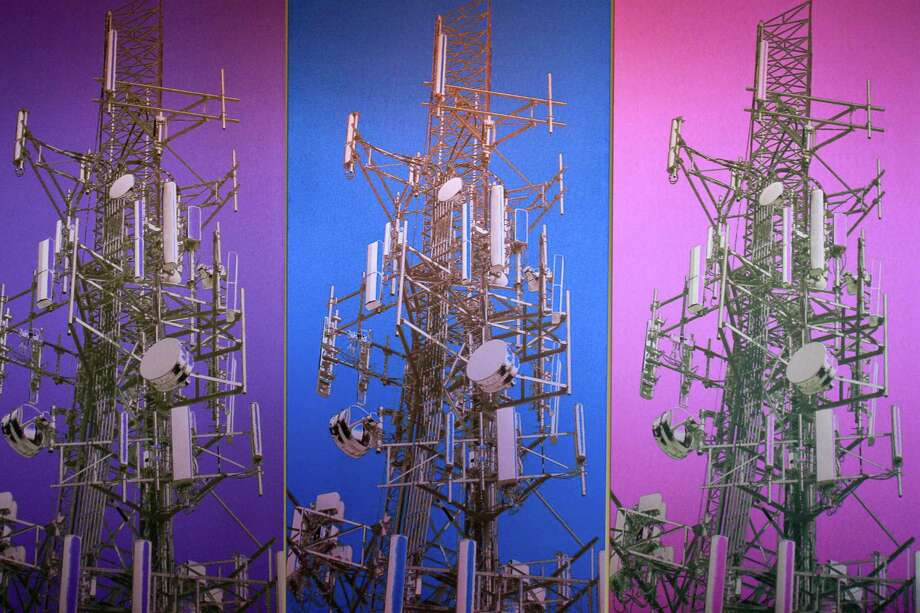 This detail of a commissioned artwork by Joe Aker, is at Crown Castle offices at 1220 Augusta Drive, decorates their offices and reflects their business as the nation's largest provider of wireless infrastructure.  (For the Chronicle/Gary Fountain, June 5, 2015) Photo: Gary Fountain, Freelance / Copyright 2015 by Gary Fountain