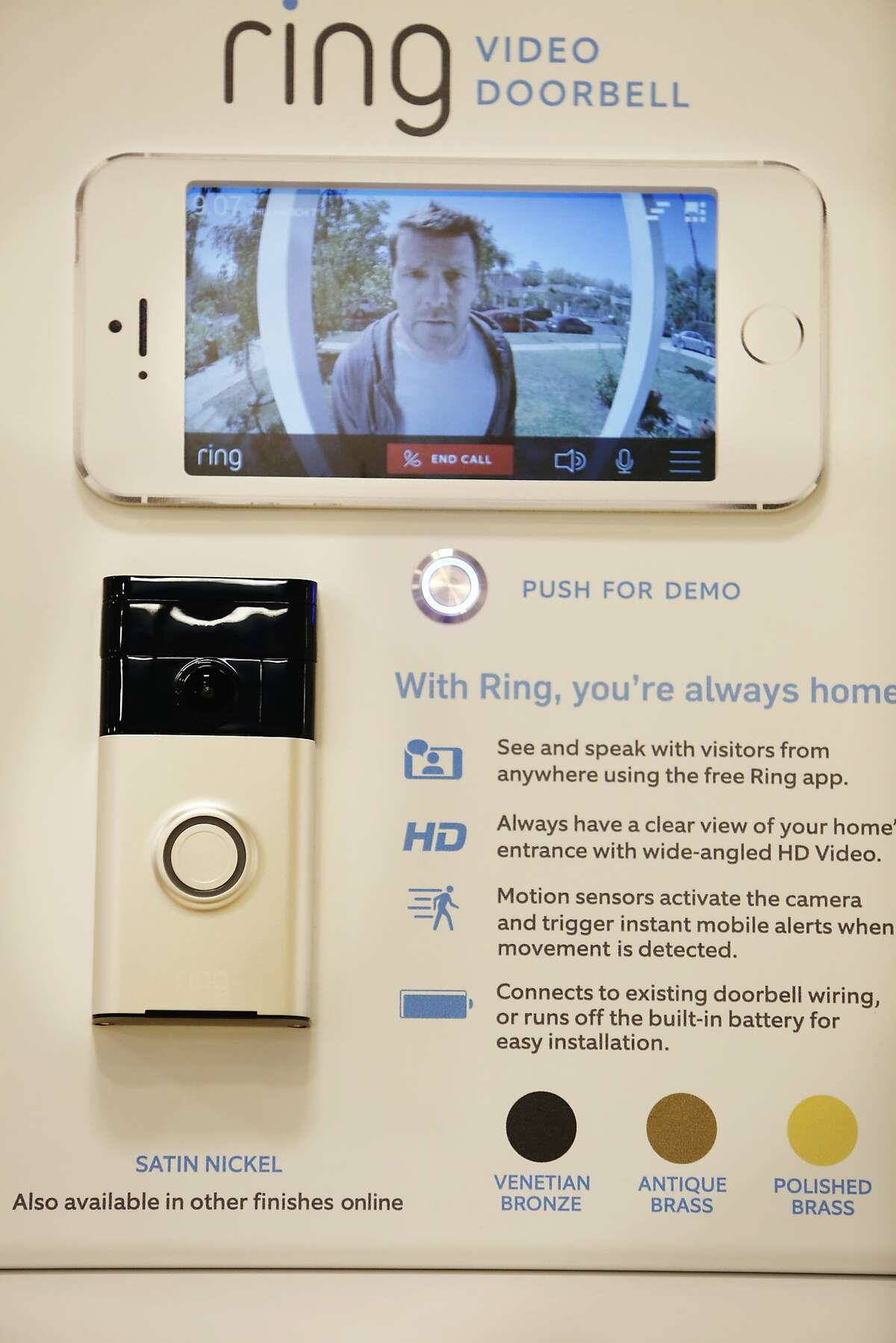 A display for the Ring video doorbell is seen at the Sears Connected Solutions flagship store at The Shops at Tanforan on Wednesday, June 24, 2015 in San Bruno, Calif.