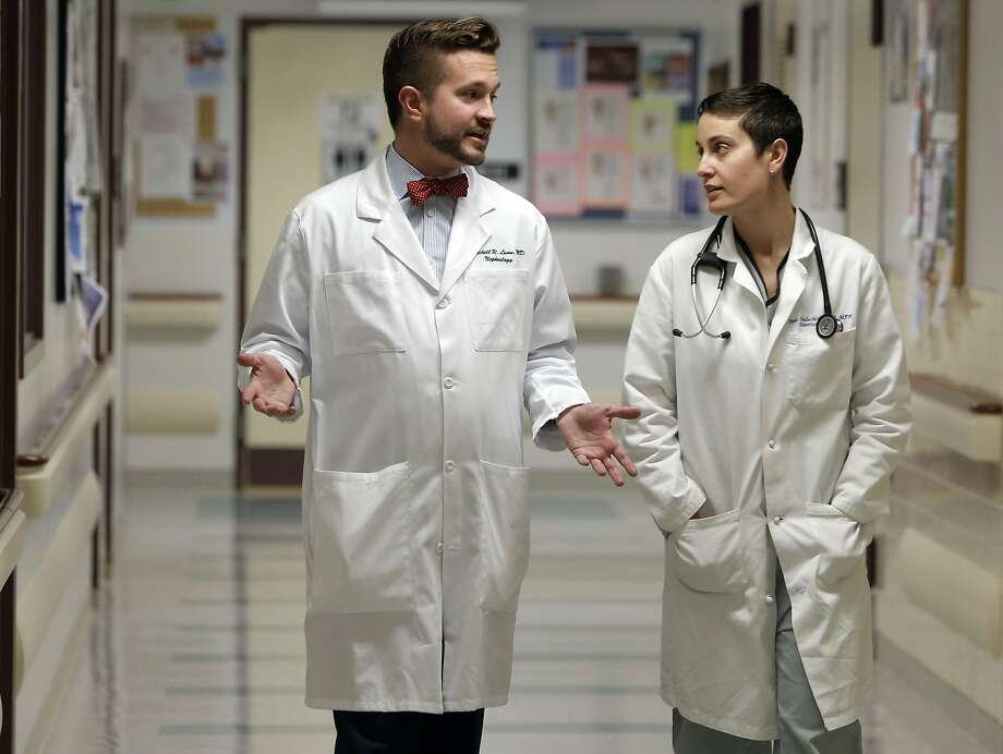 Co-directors of The Pride Study, Mitchell Lunn, M.D and Juno Obedin-Maliver, MD in San Francisco, Calif. on Wed. June 24, 2015. The Pride Study, a smart phone application will collect data in regards to physical, mental and social issues that uniquely face the LGBT community. Photo: Michael Macor, The Chronicle