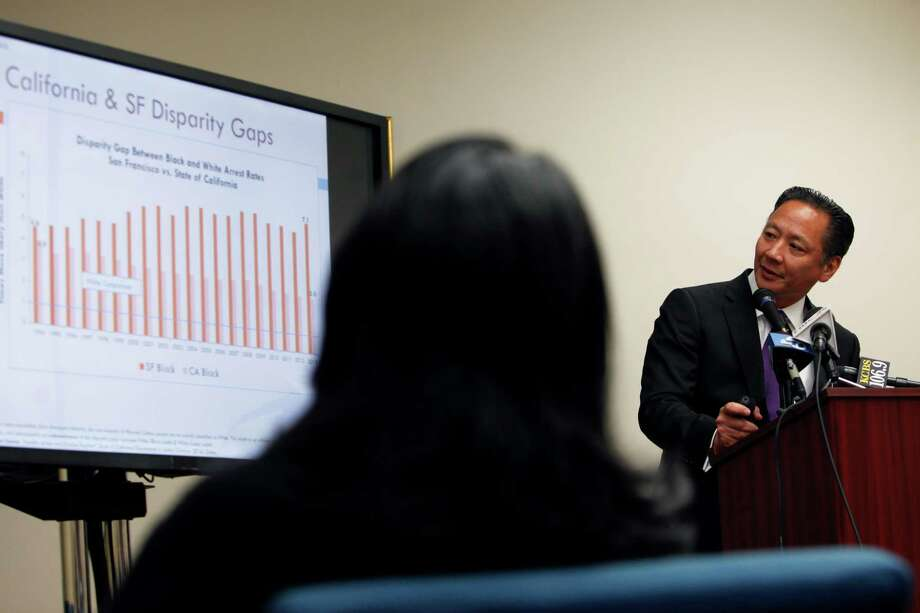 S.F. Public Defender Jeff Adachi discusses the findings of a new report on the racial disparity in arrests. Photo: Cameron Robert / Photos By Cameron Robert / The Chronicle / ONLINE_YES