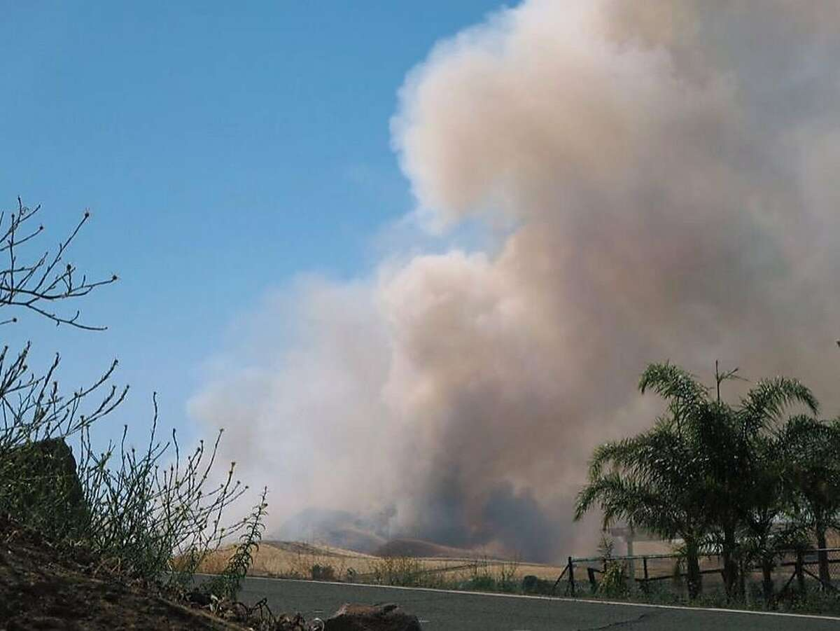 A large plume of smoke can be seen billowing from the Loma Fire, a 100-acre blaze burning through grasses near Antioch on Wednesday June 24, 2015.